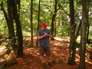 Jim Raffel in Woods with htc EVO on vacation