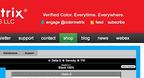 ColorMetrix shop menu option in green