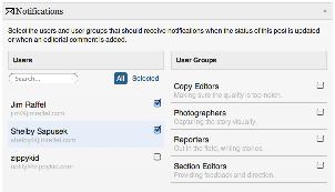 Edit flow notifications view