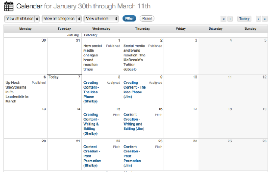 Edit flow calendar view