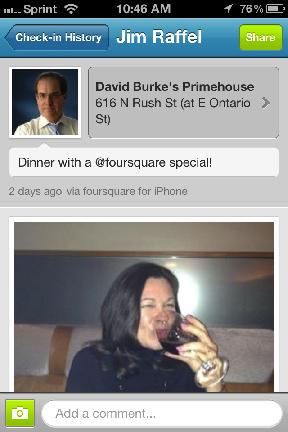 image of foursquare checkin at primehouse