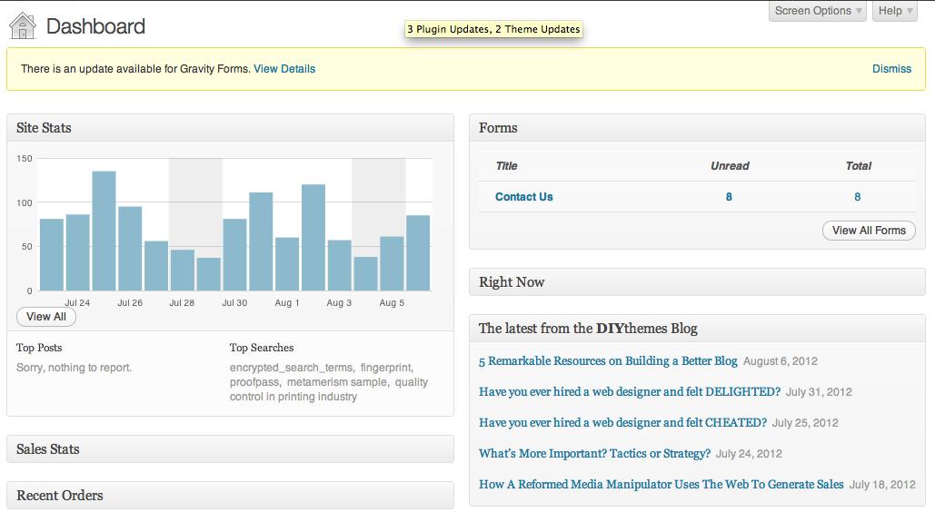 Image of WordPress Dashboard Widgets
