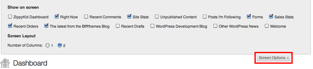 Image of WordPress Screen Options